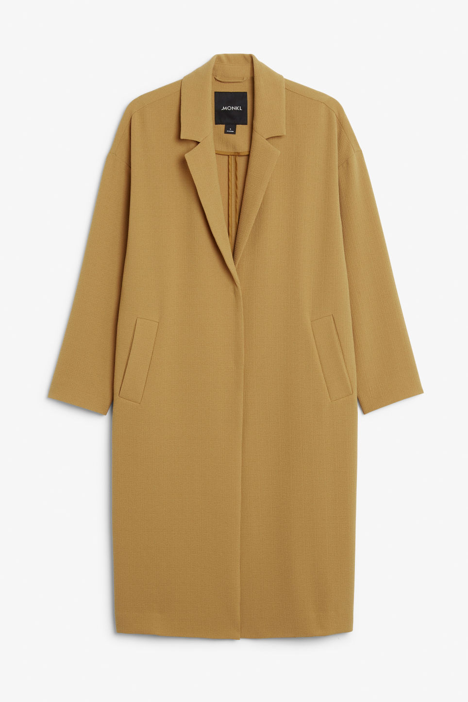 Front image of Monki long dressy coat in yellow