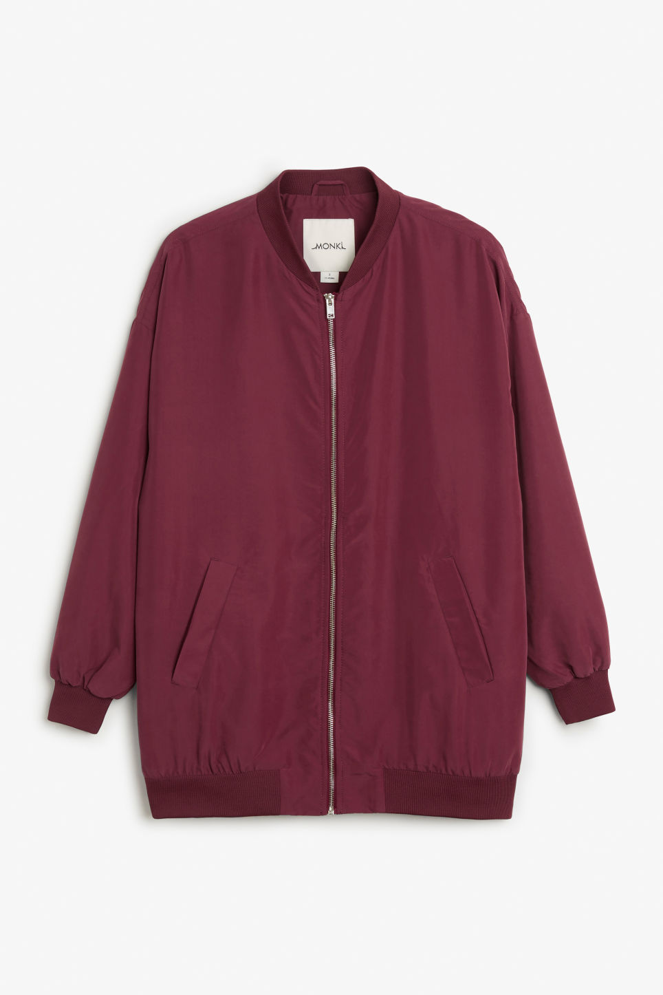 Front image of Monki long bomber jacket in red