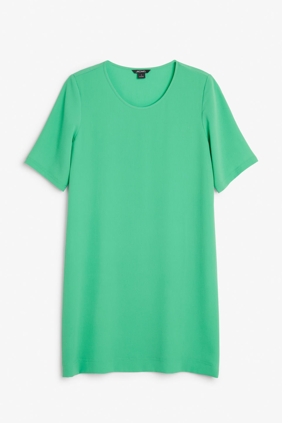 Front image of Monki textured t-shirt dress in green