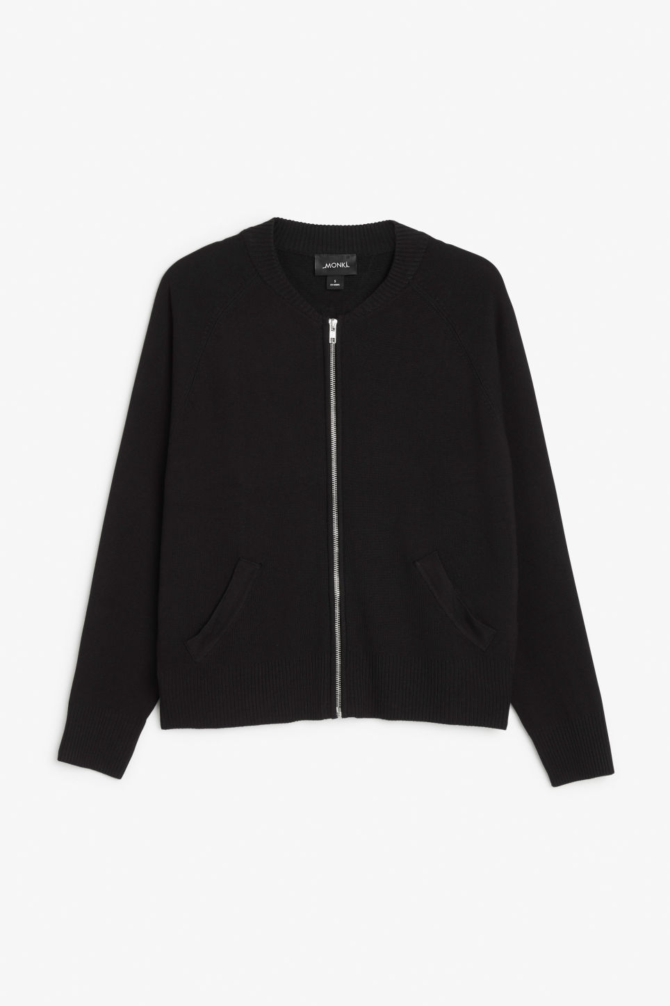 Front image of Monki bomber sweater in black