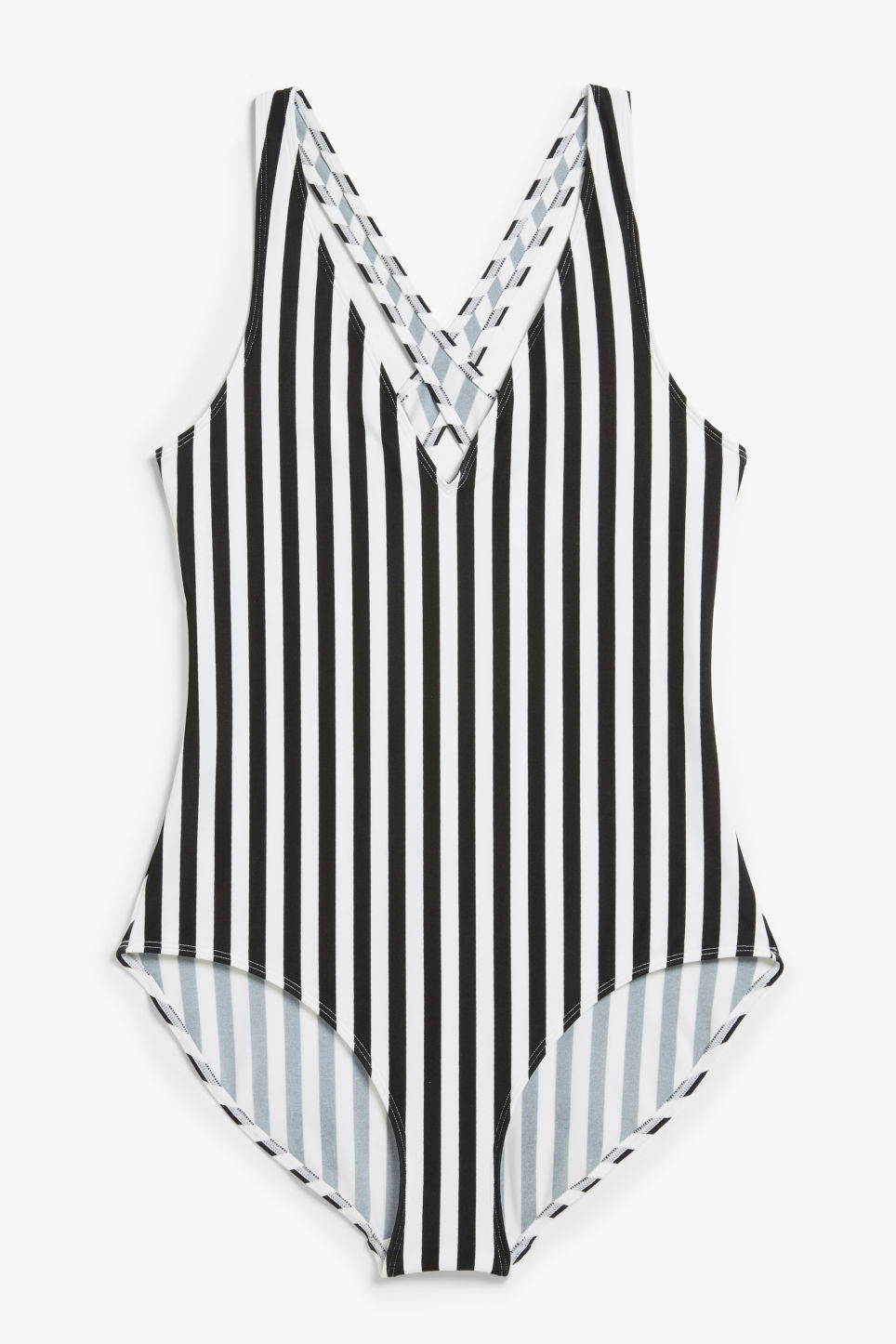 Front image of Monki cross-back swimsuit in white