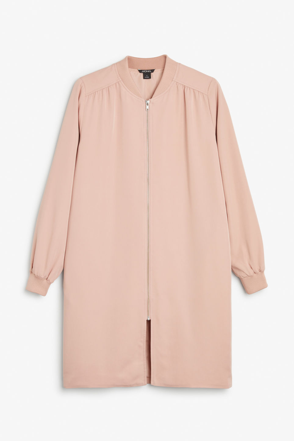 Front image of Monki long lightweight jacket in pink