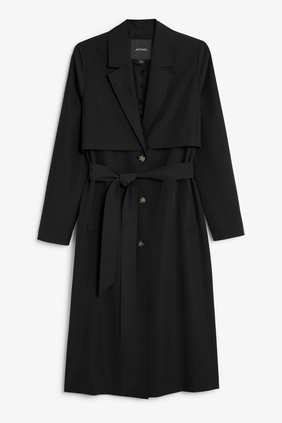 Front image of Monki lightweight trench coat in black
