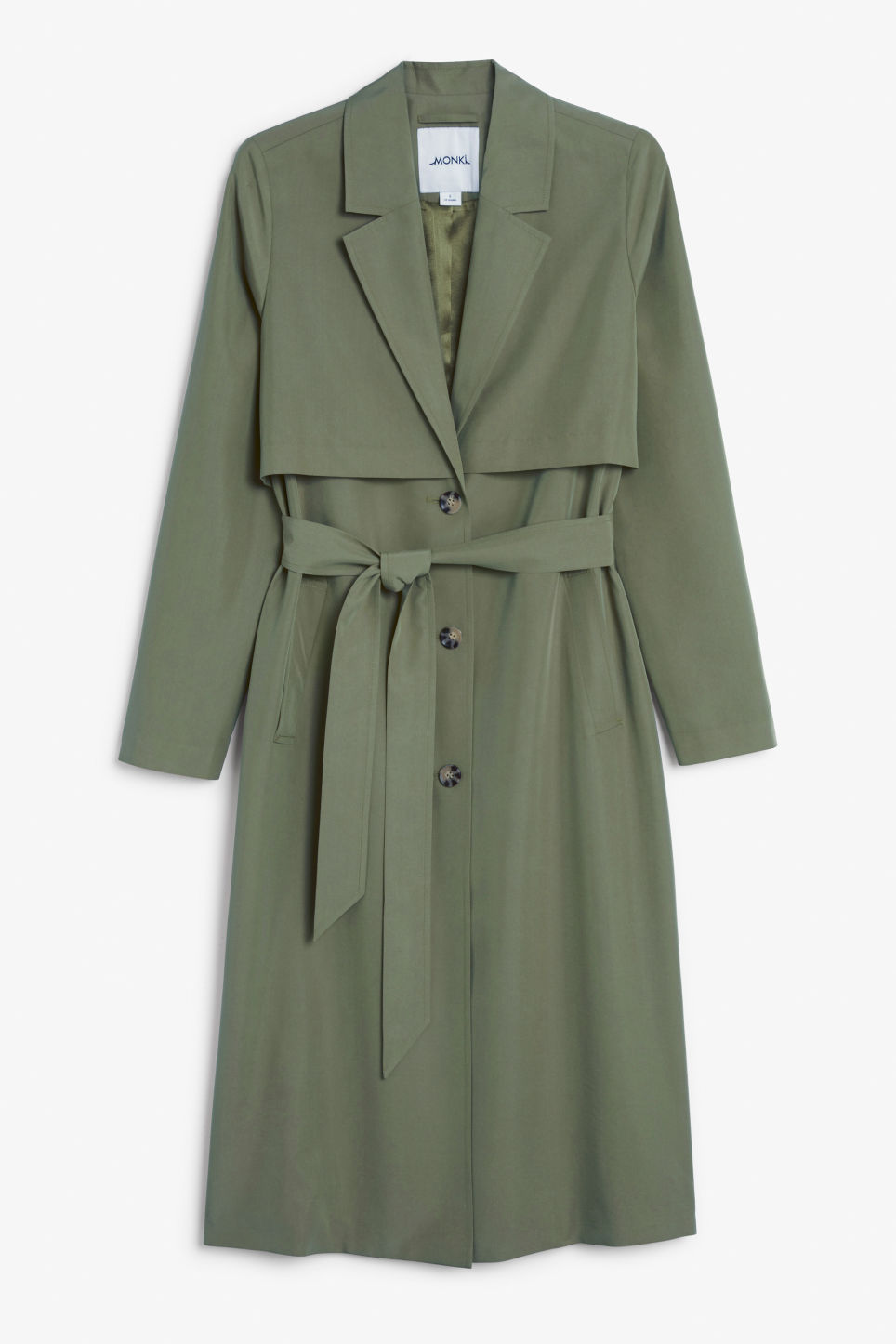 Front image of Monki lightweight trench coat in green
