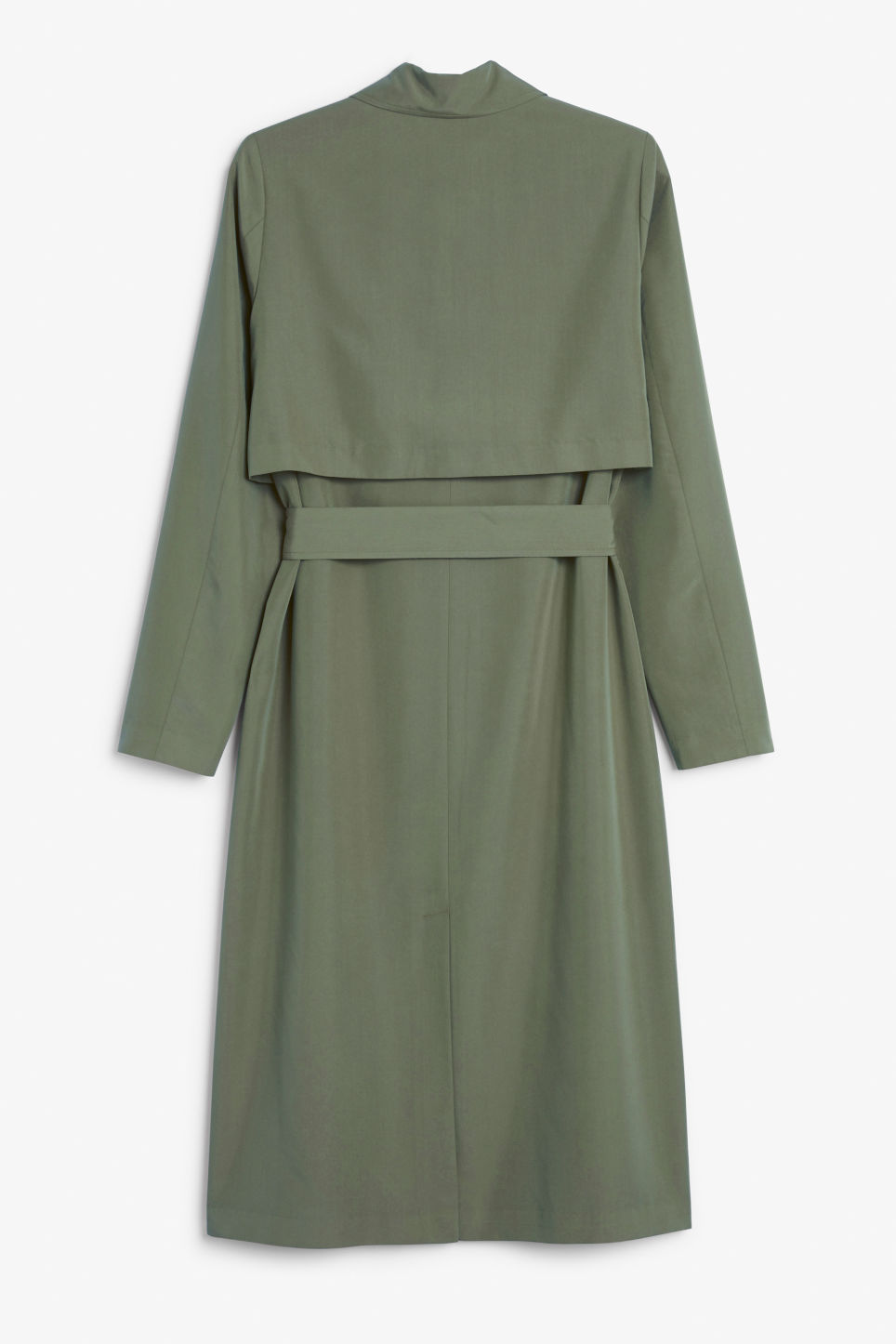 Back image of Monki lightweight trench coat in green