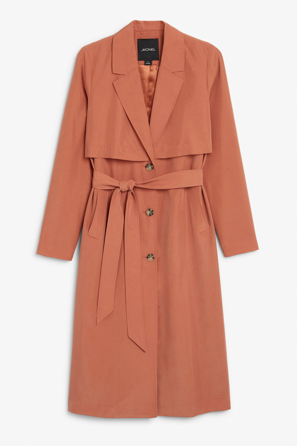 Front image of Monki lightweight trench coat in orange