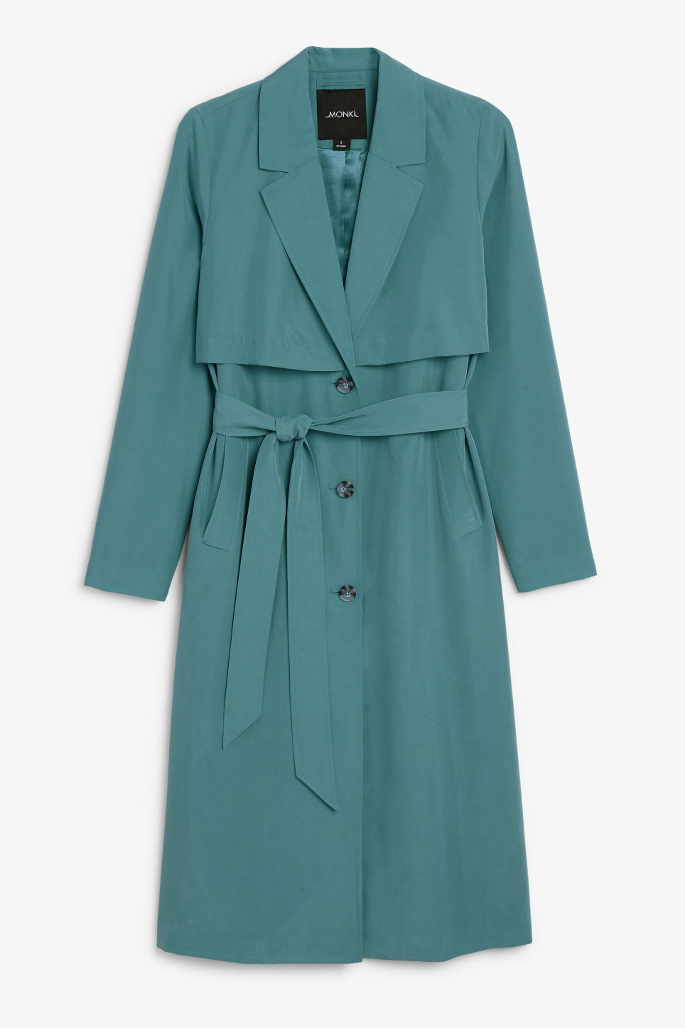 Front image of Monki lightweight trench coat in turquoise