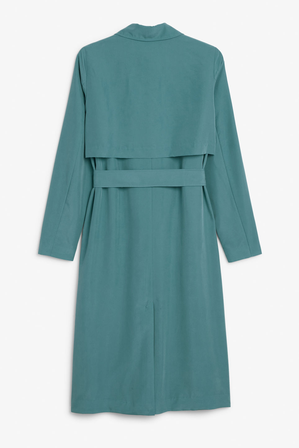 Back image of Monki lightweight trench coat in turquoise