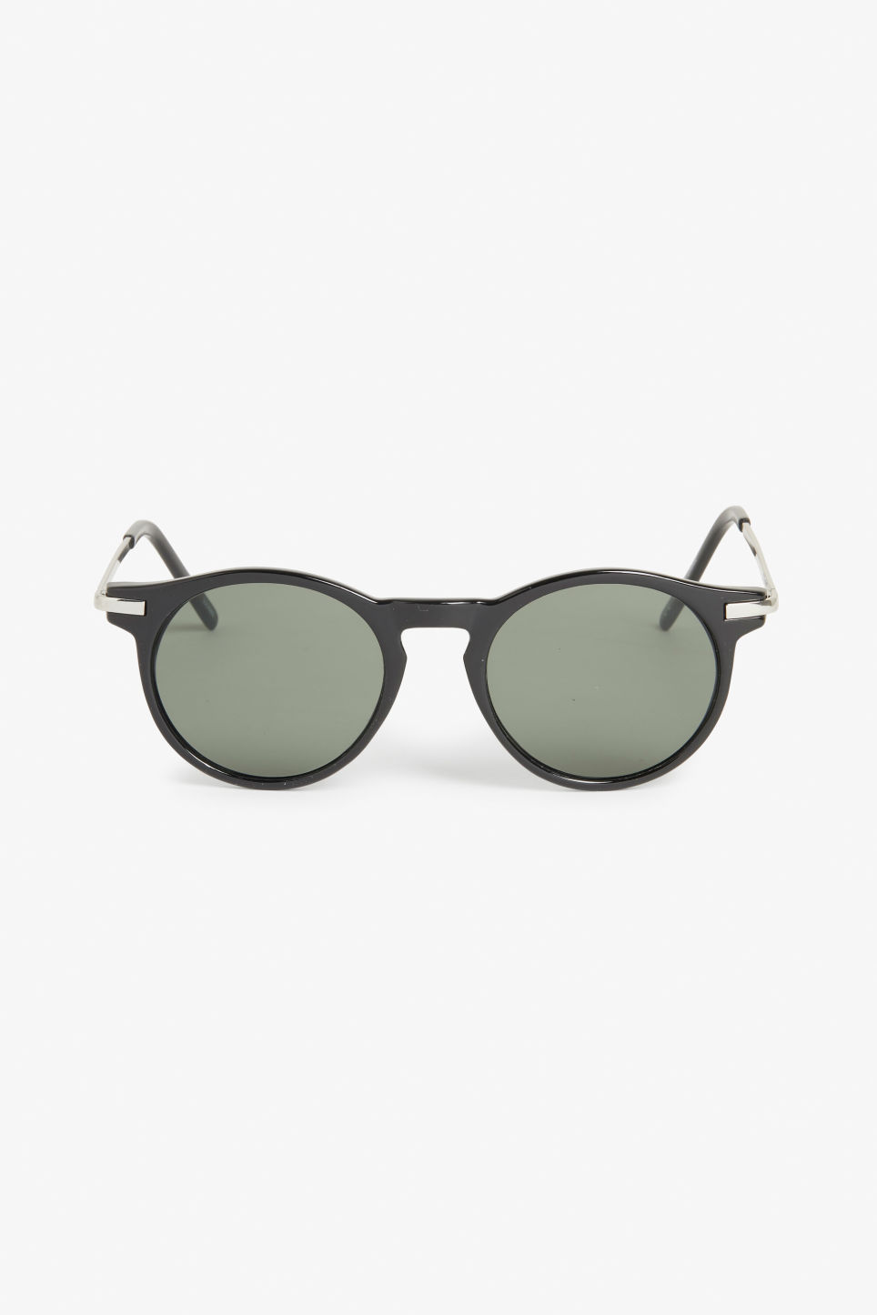 Front image of Monki round & retro sunglasses in black