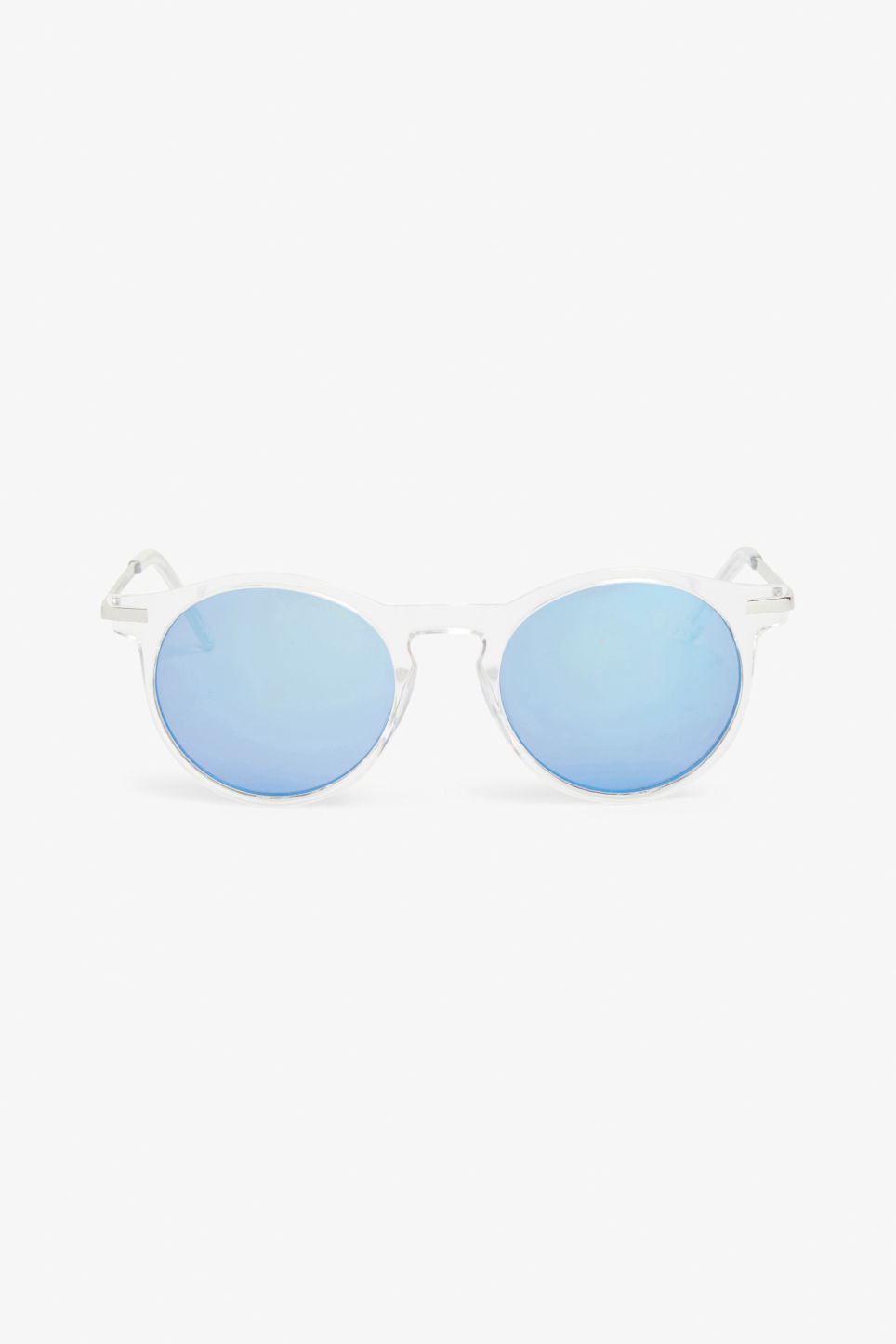Front image of Monki round & retro sunglasses in white