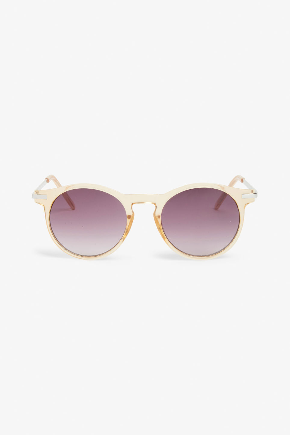 Front image of Monki round & retro sunglasses in beige