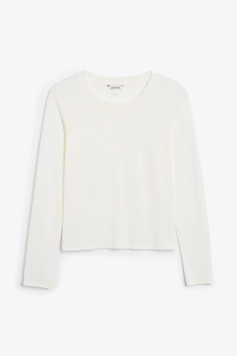Front image of Monki super-soft long sleeve top in white