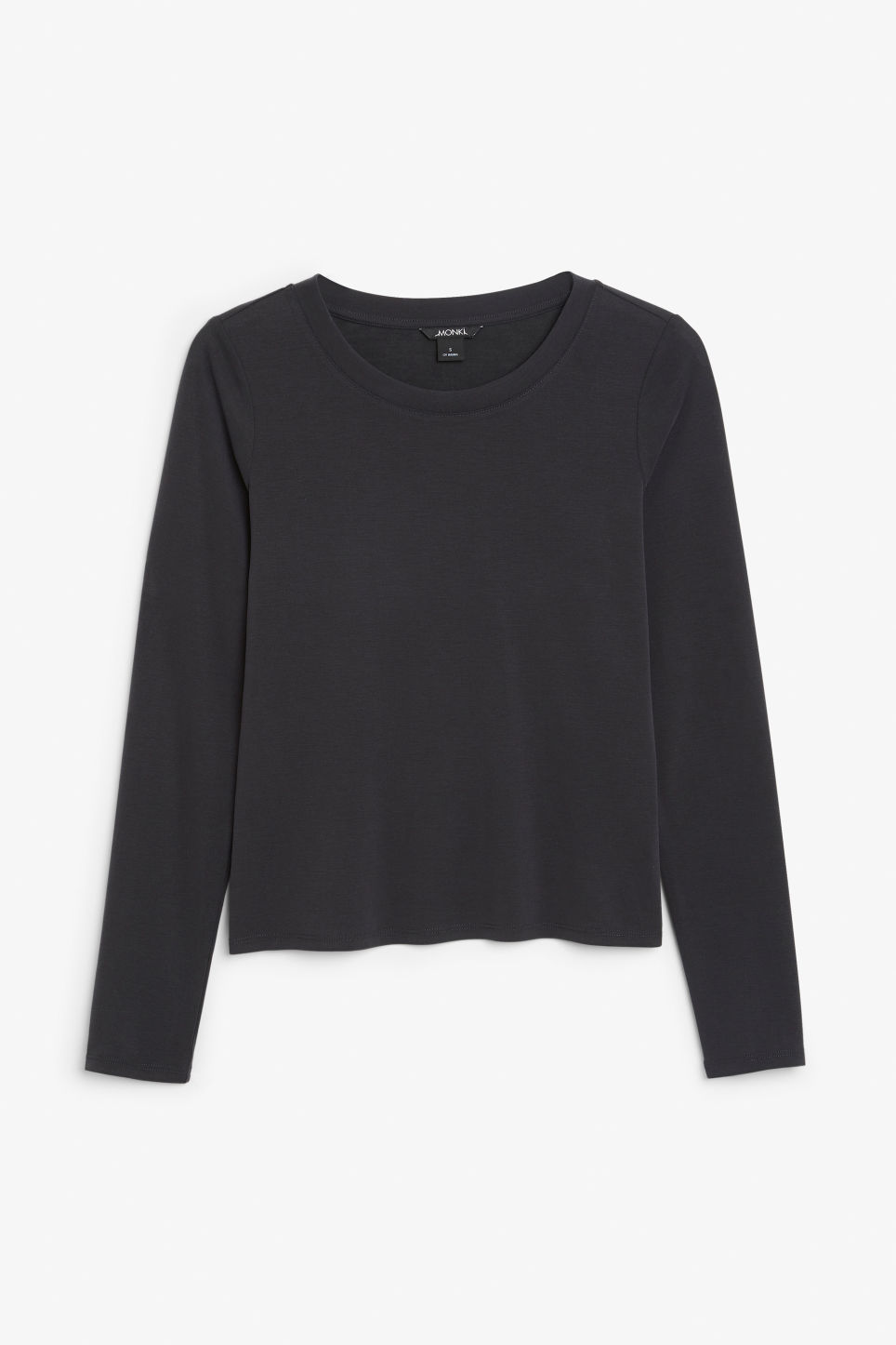 Front image of Monki super-soft long sleeve top in black