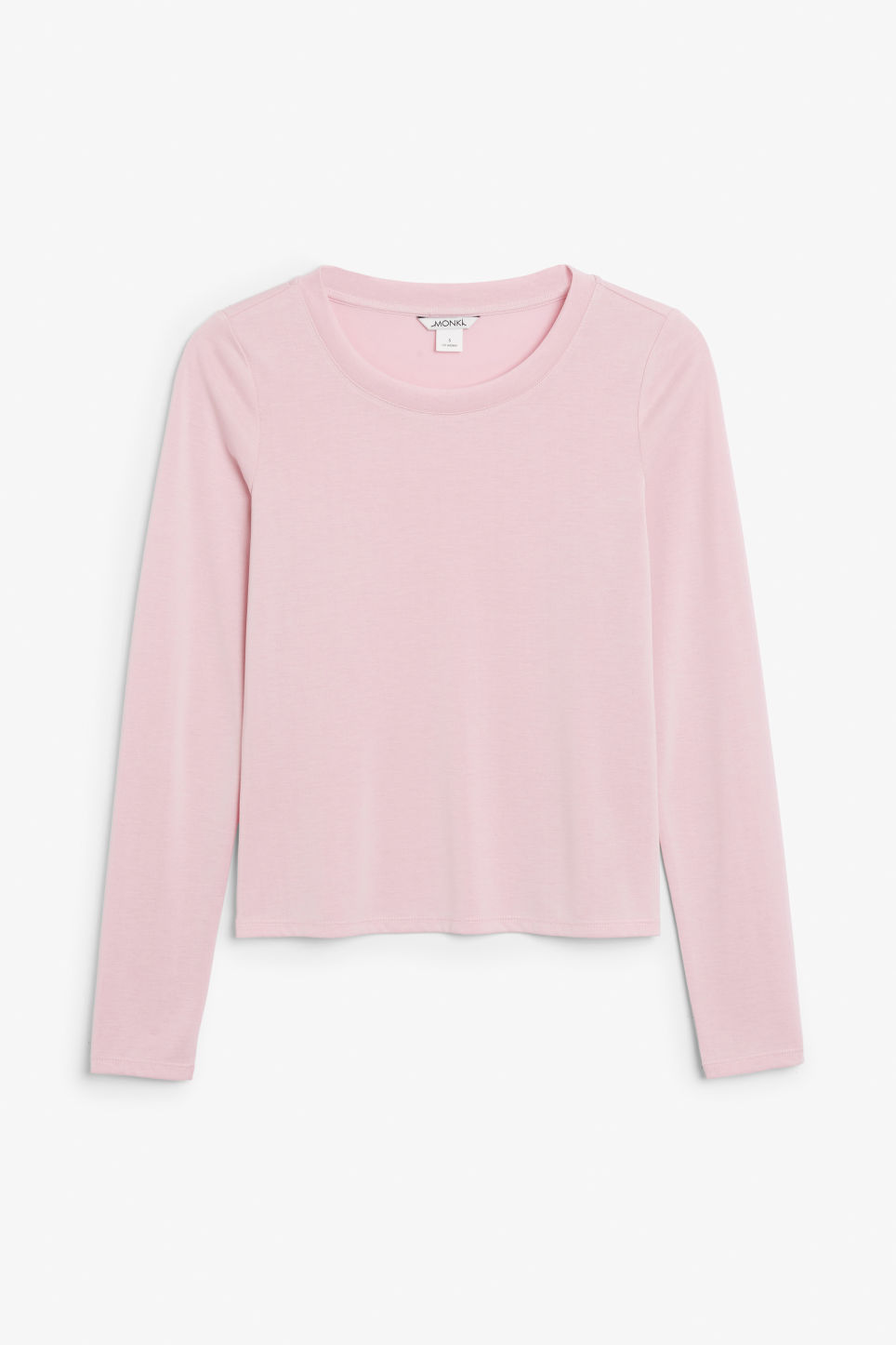 Front image of Monki super-soft long sleeve top in pink