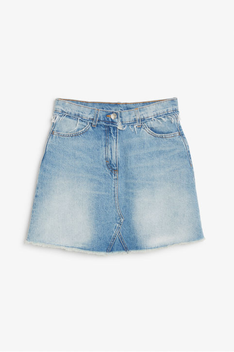 Front image of Monki a-line denim skirt in blue