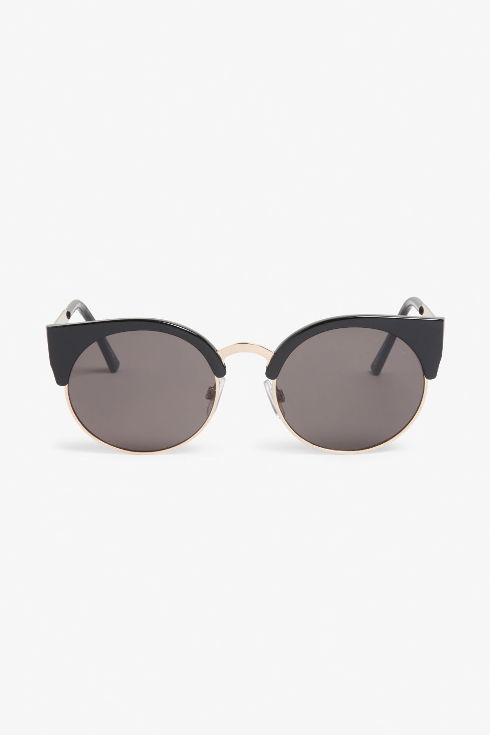 Front image of Monki cat-eye sunglasses in black