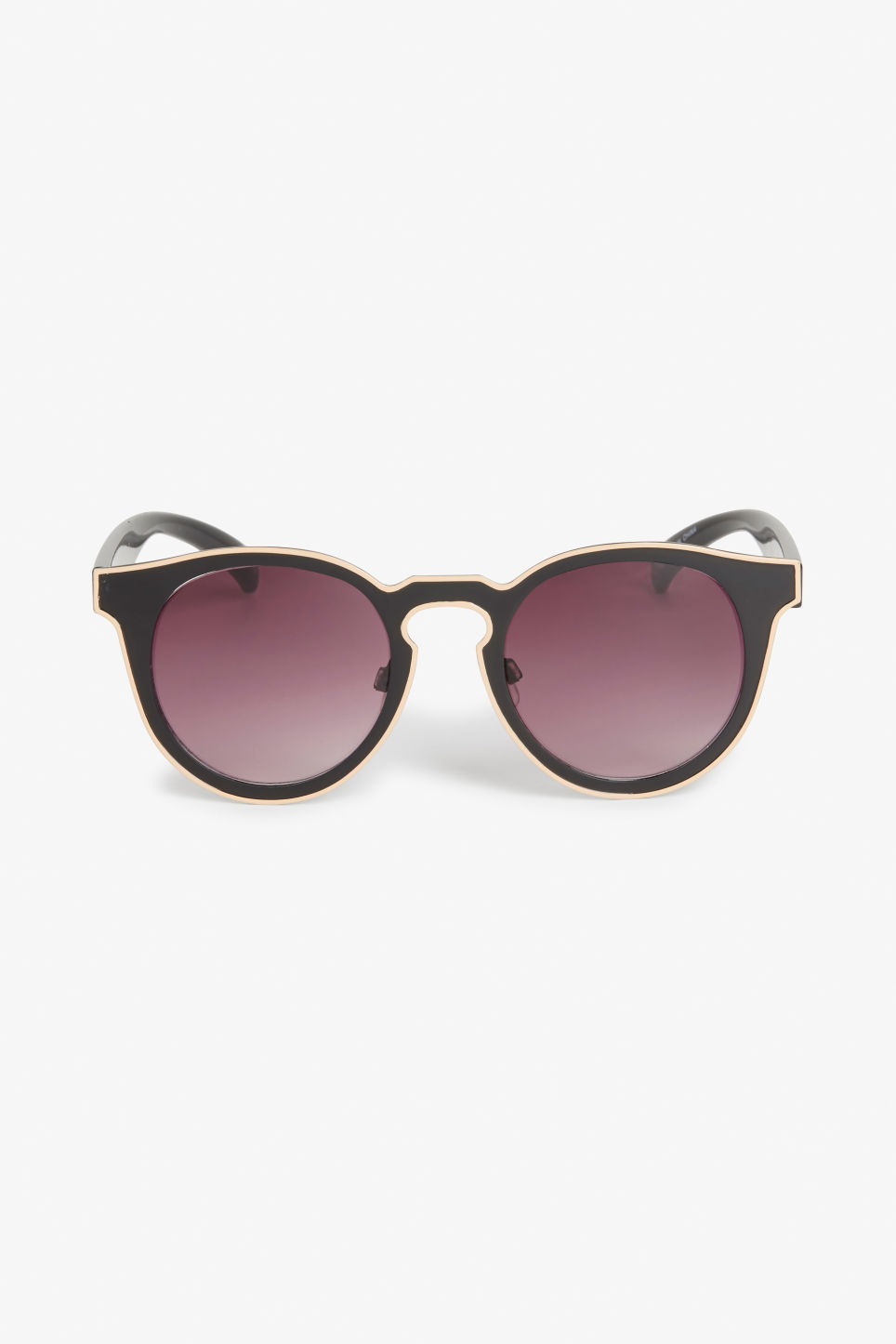 Front image of Monki futuristic kitten sunglasses in black