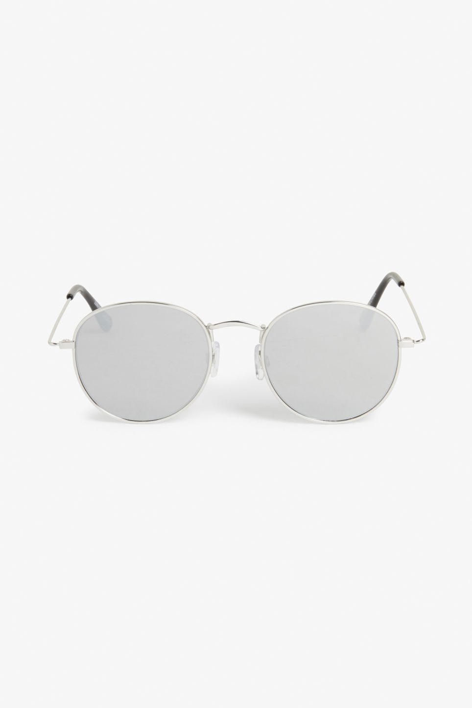 Front image of Monki round lens sunglasses in silver