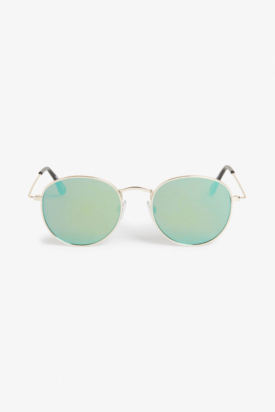 Front image of Monki round lens sunglasses in gold