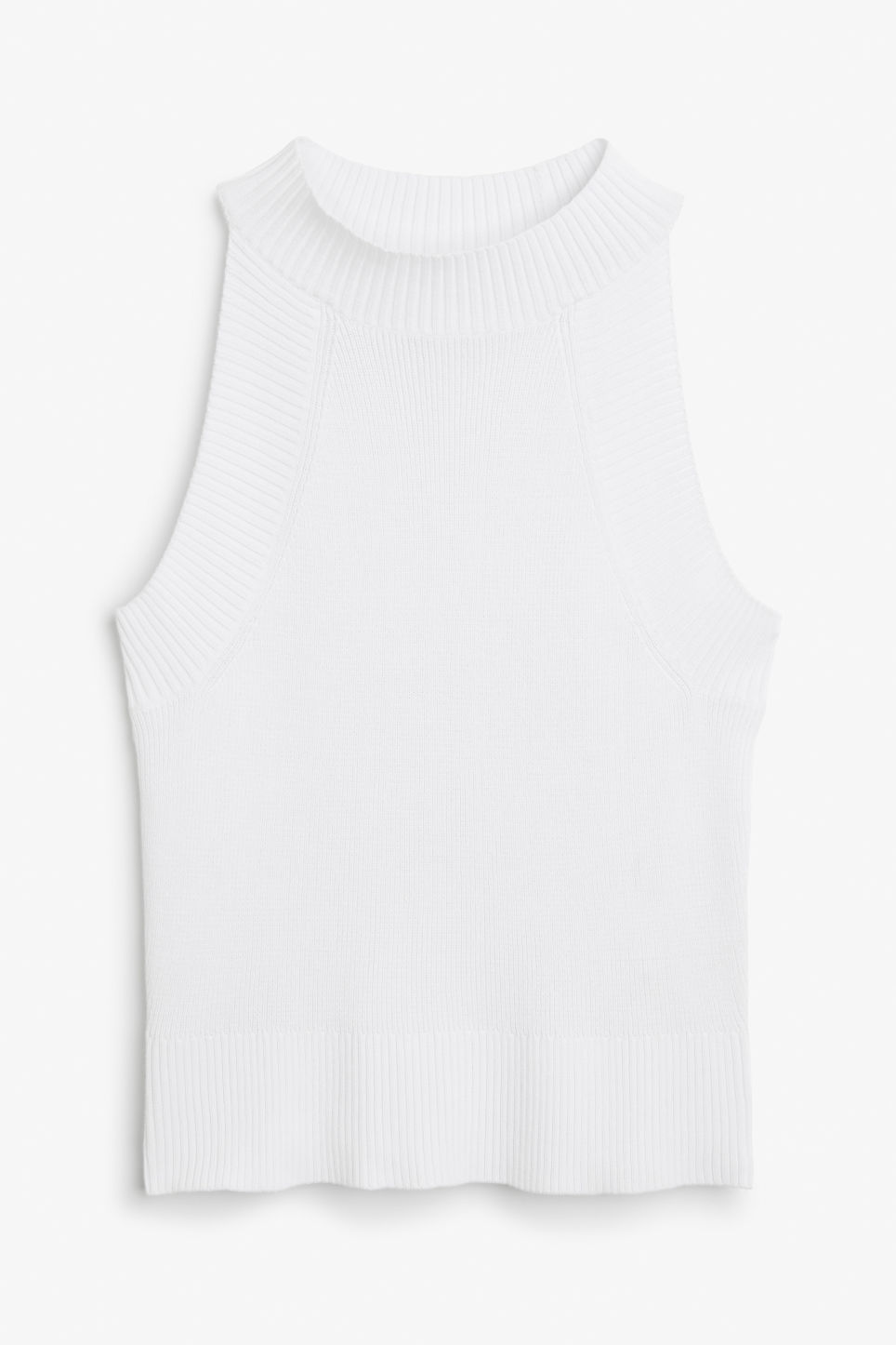 Front image of Monki rib knit singlet in white