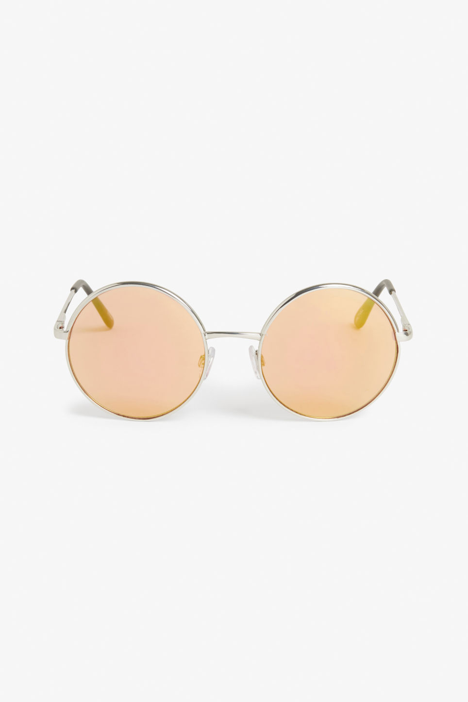 Front image of Monki 70s style sunglasses in silver