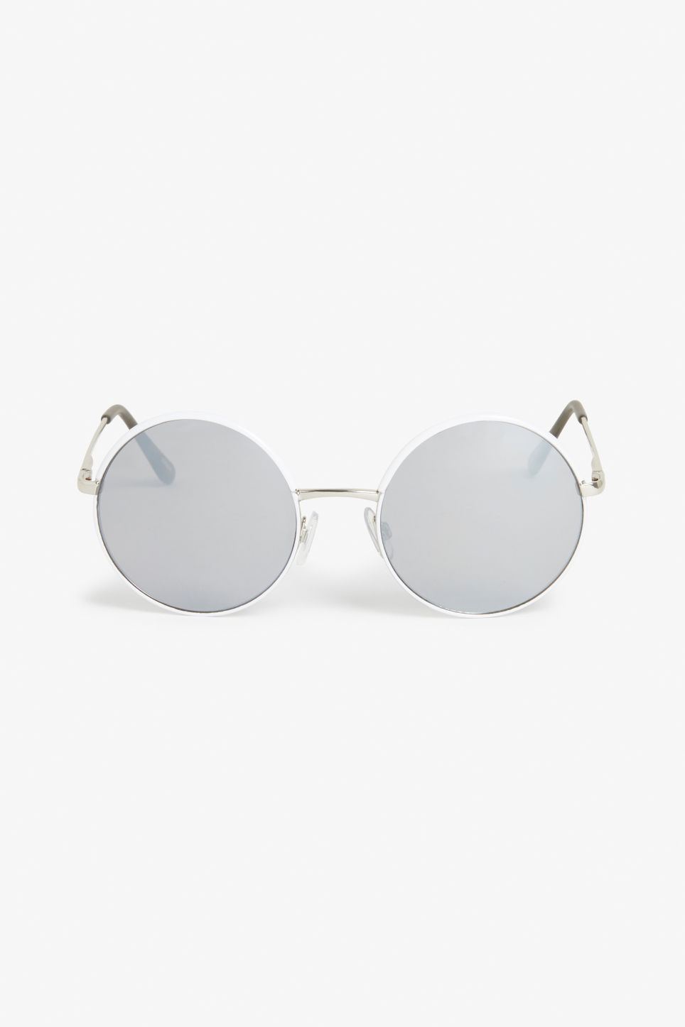 Front image of Monki 70s style sunglasses in white