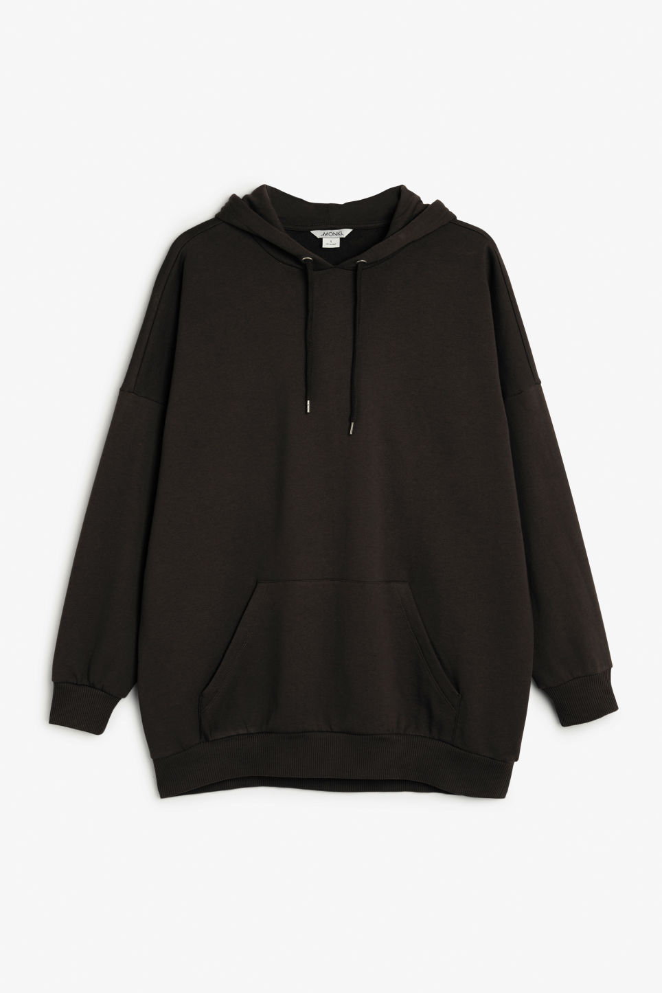Front image of Monki oversize hoodie in black