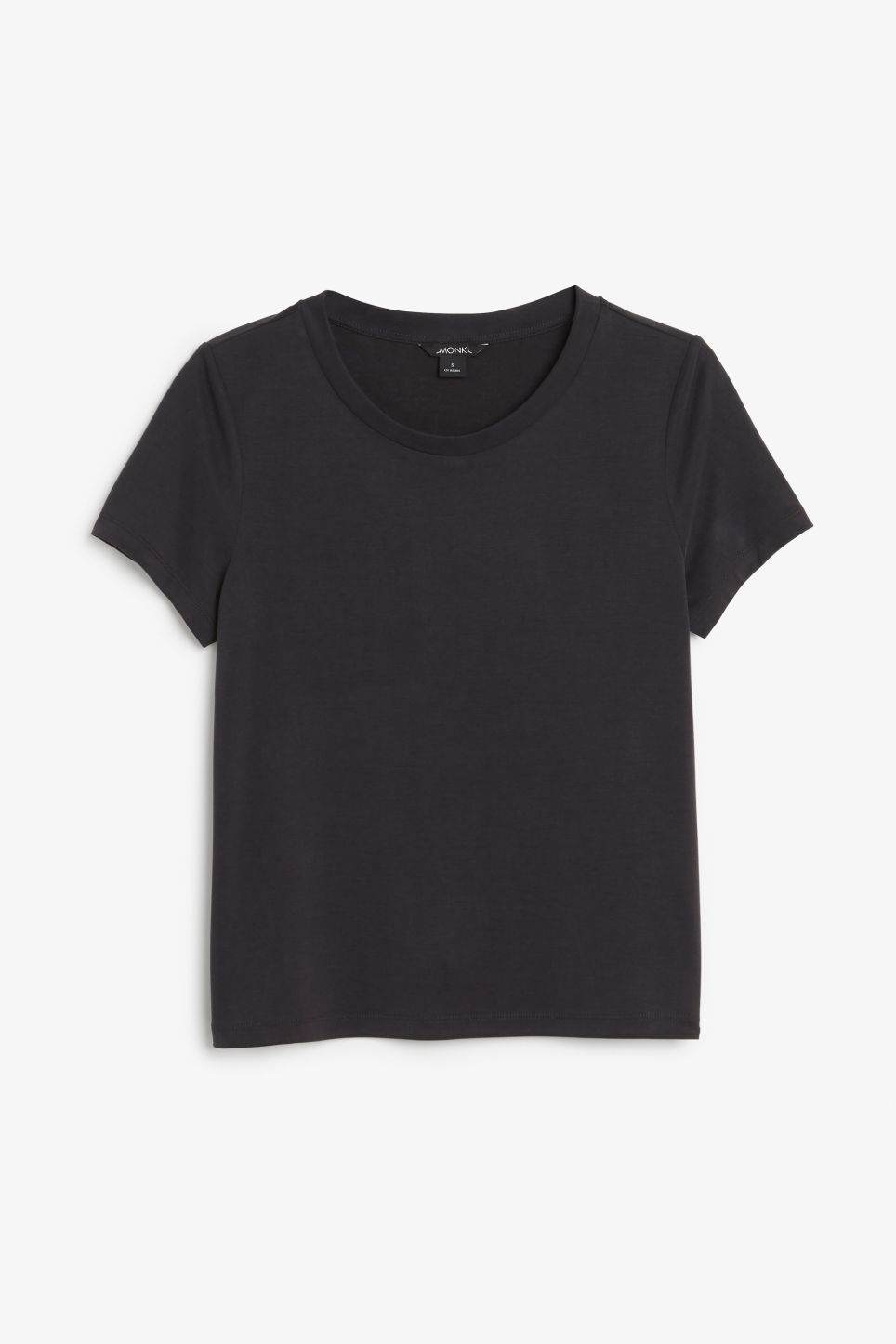 Front image of Monki super-soft tee in black