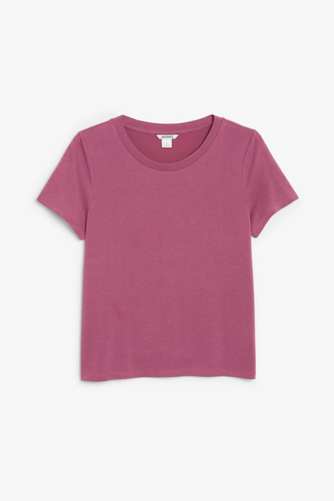 Front image of Monki super-soft tee in pink