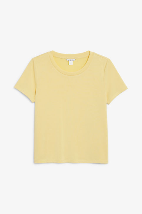 Front image of Monki super-soft tee in yellow