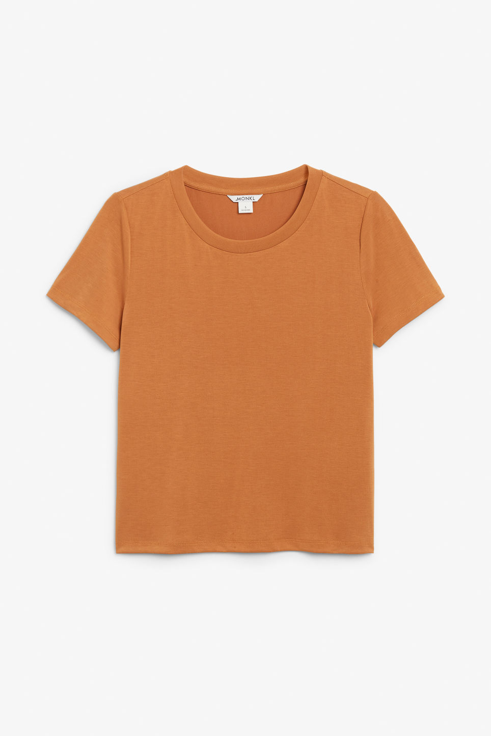 Front image of Monki super-soft tee in orange