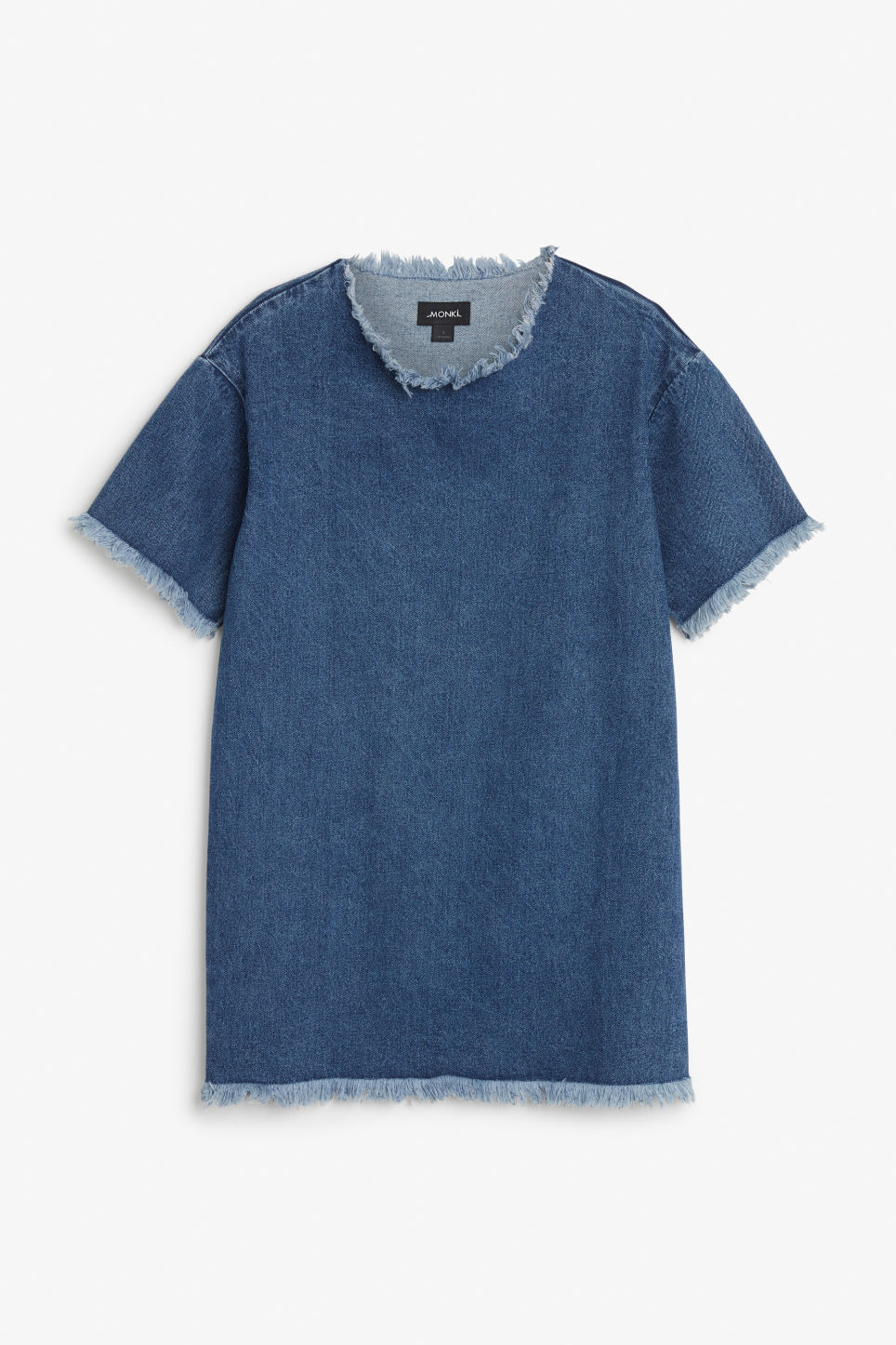 Front image of Monki frayed seam denim dress in blue