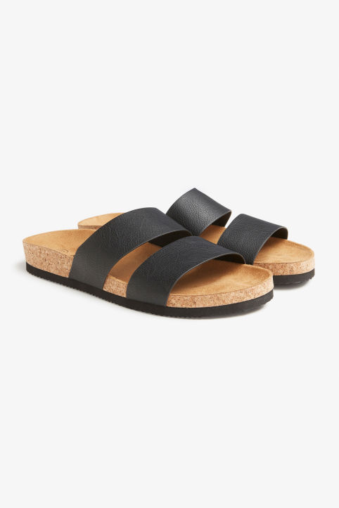 Front image of Monki flat sandals in black