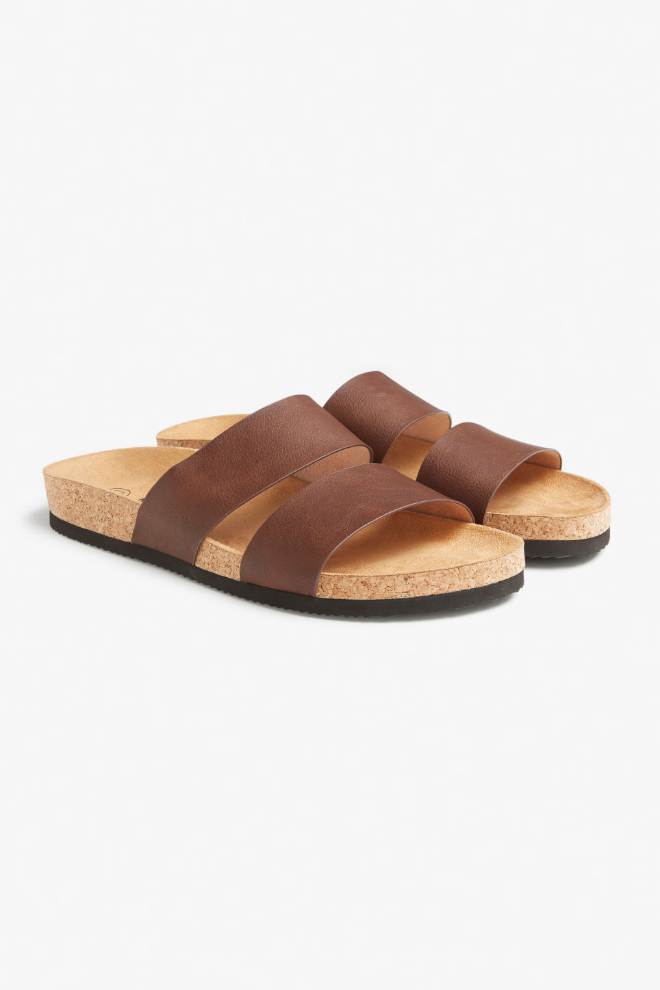 Front image of Monki flat sandals in brown
