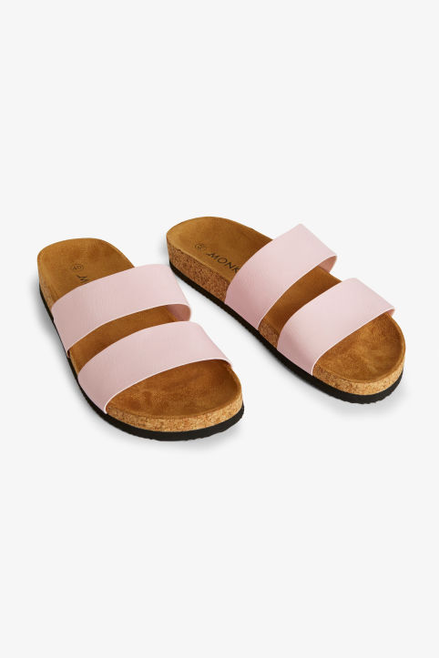 Front image of Monki flat sandals in pink