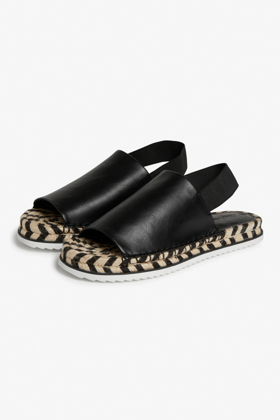 Front image of Monki espandrille style slingbacks in black