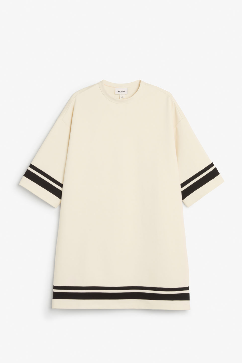 Front image of Monki round neck sweater dress in white