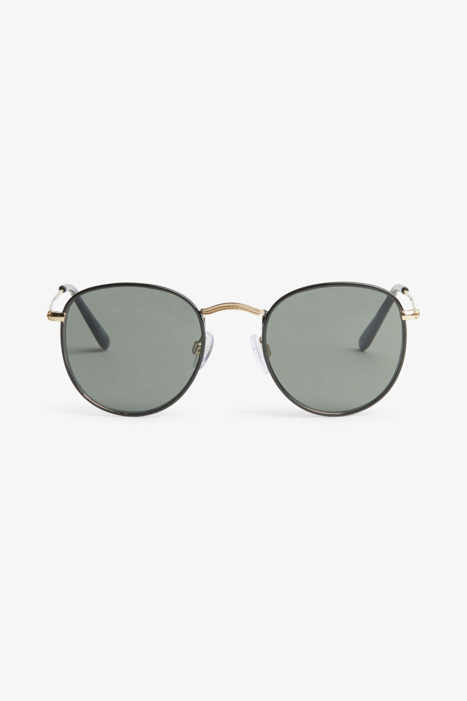 Front image of Monki pilot sunglasses in black