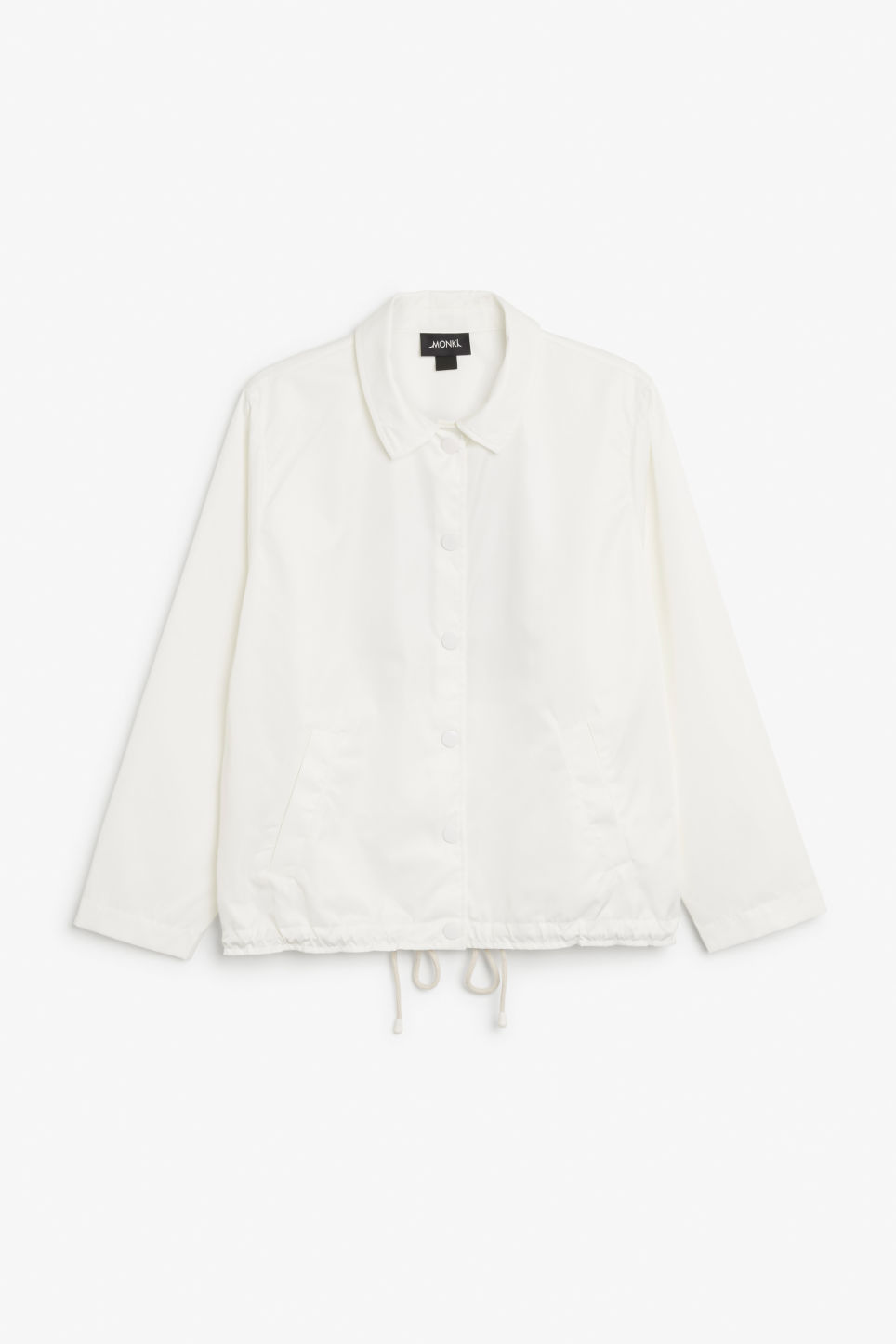 Front image of Monki statement print windbreaker in white