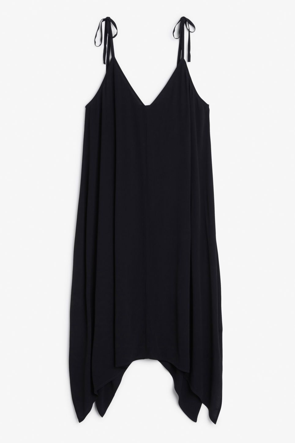 Front image of Monki asymmetric slip dress in black