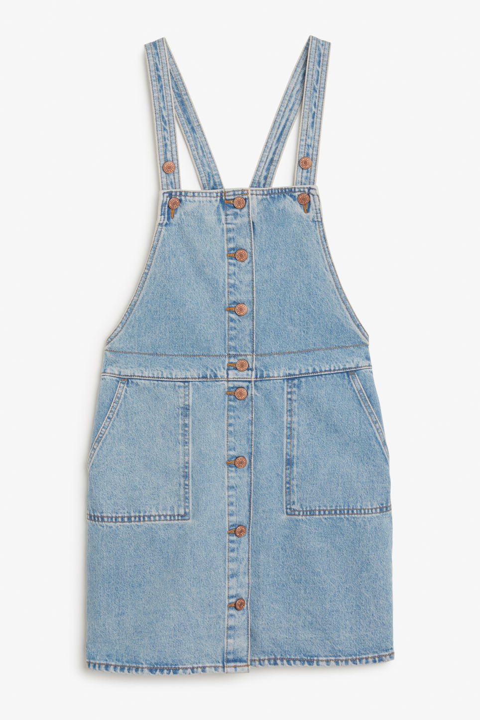 Front image of Monki denim pinafore dress in blue