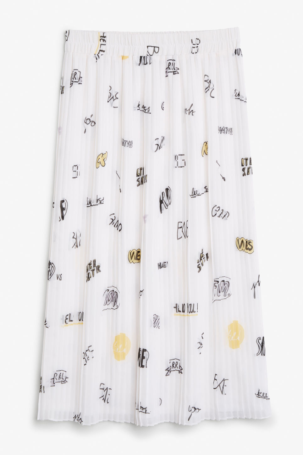 Front image of Monki pleated midi skirt in white