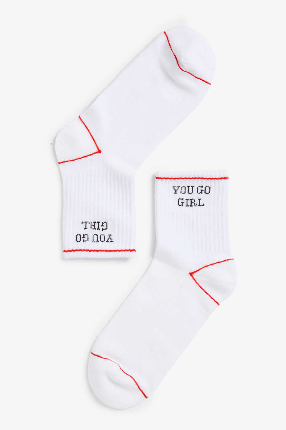 Front image of Monki sport sock in white