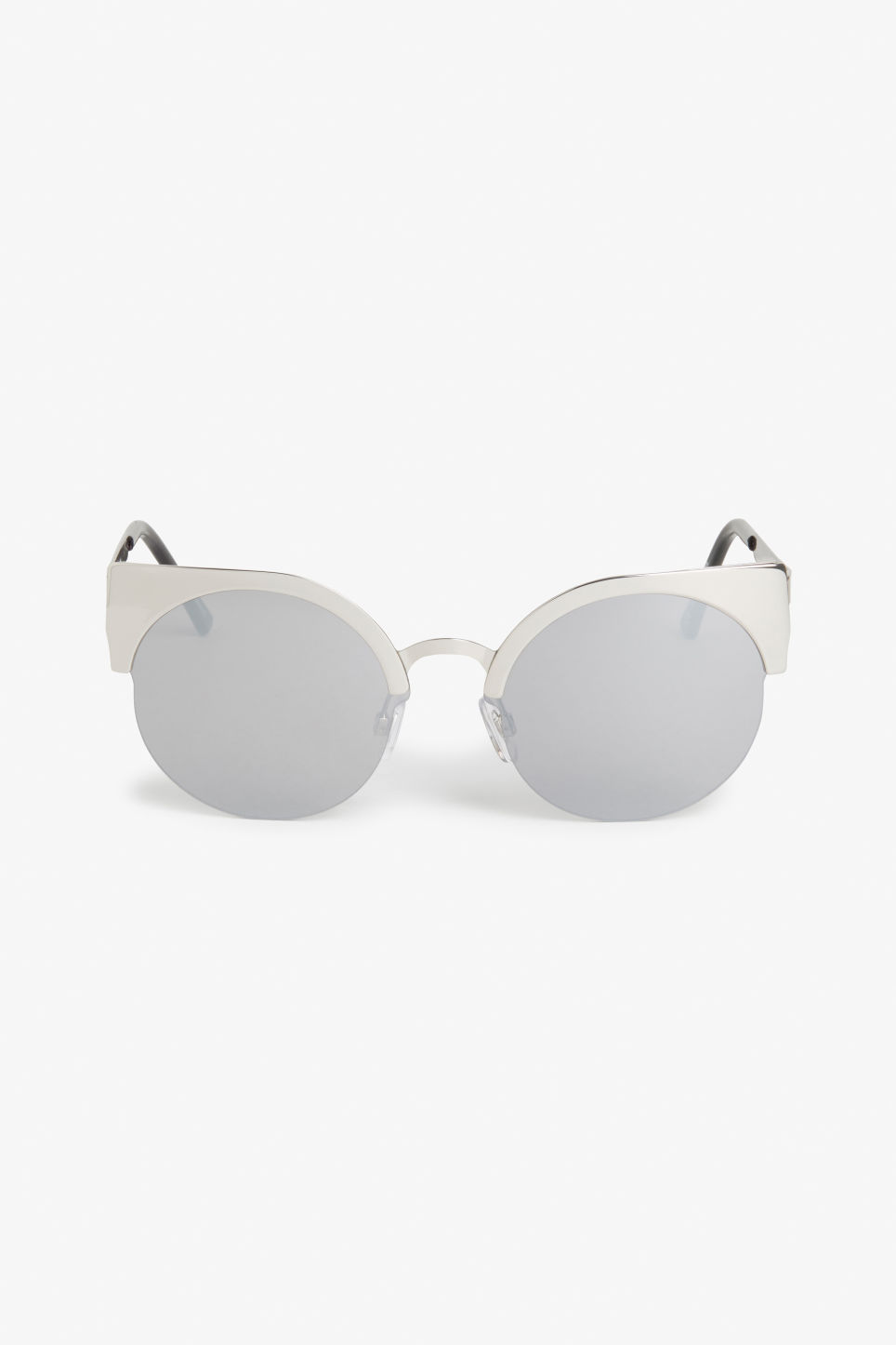 Front image of Monki cat/rimless sunglasses in silver