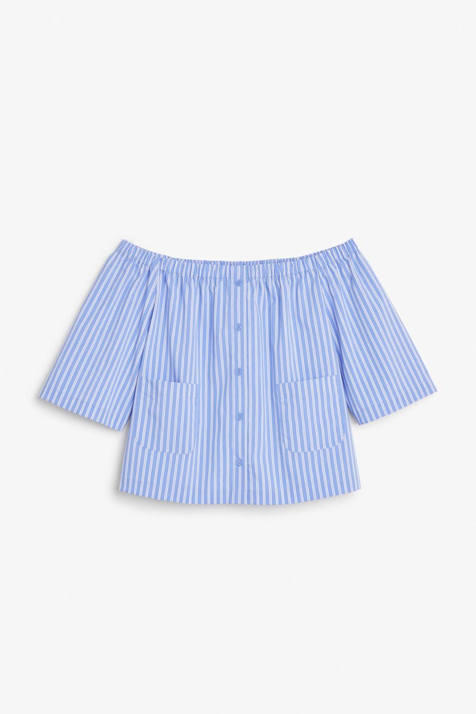 Front image of Monki on/off shoulder blouse in blue