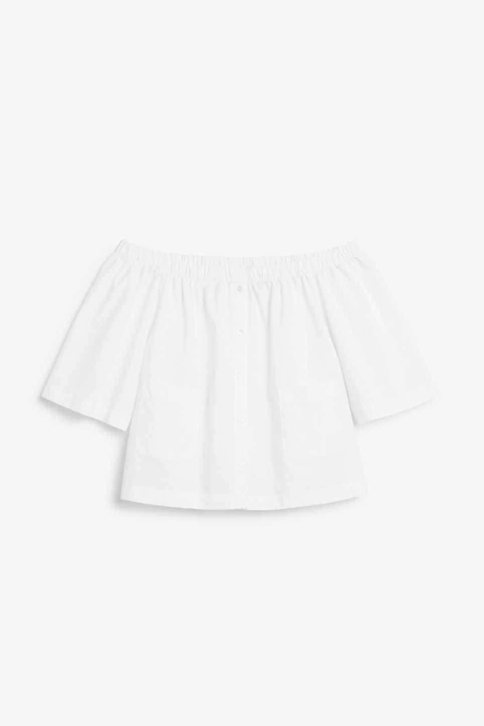 Front image of Monki on/off shoulder blouse in white