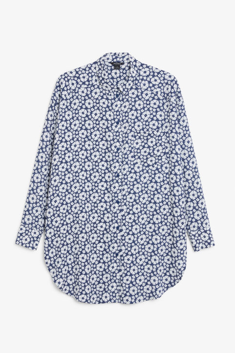 Front image of Monki long blouse in blue