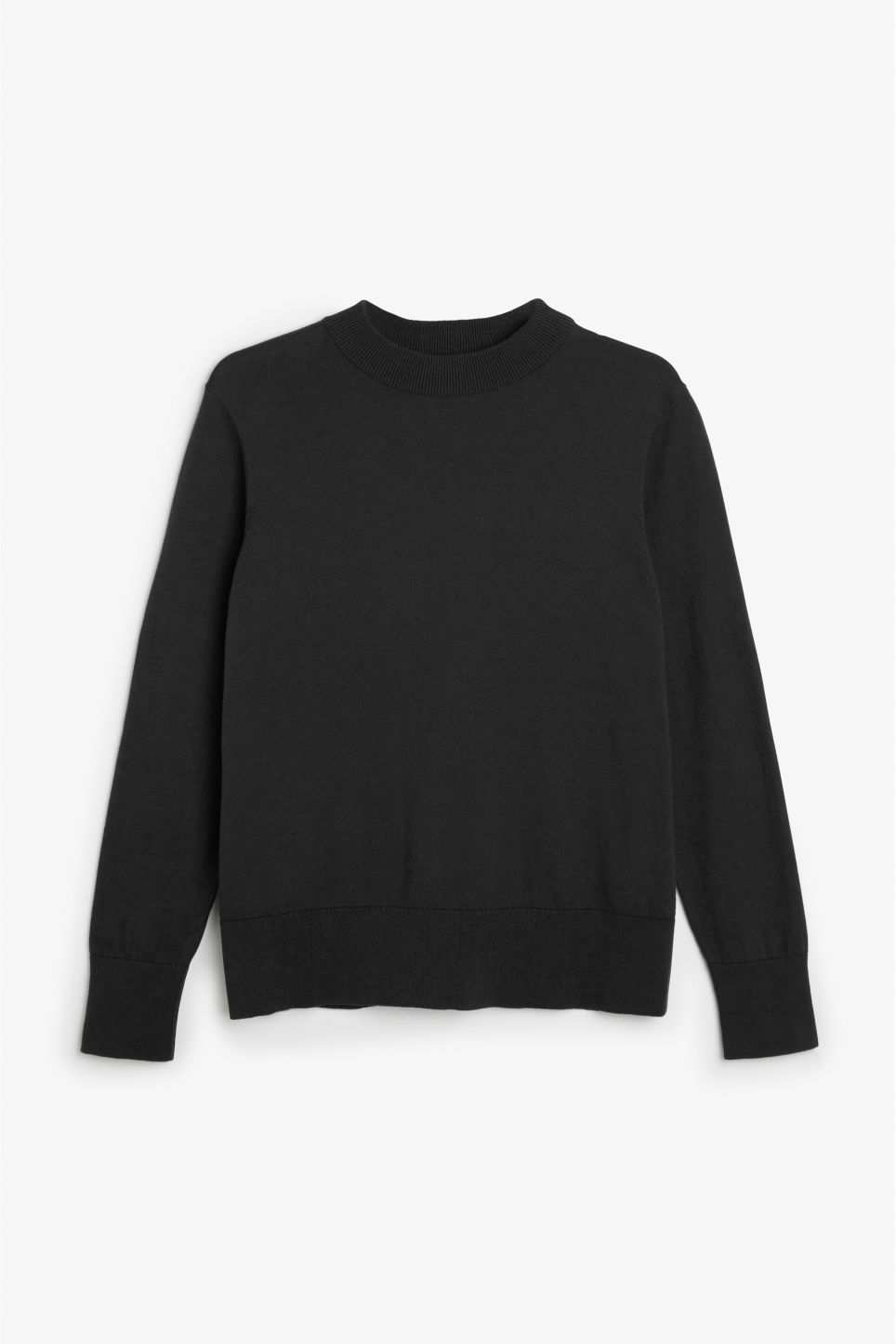 Front image of Monki soft knit sweater in black
