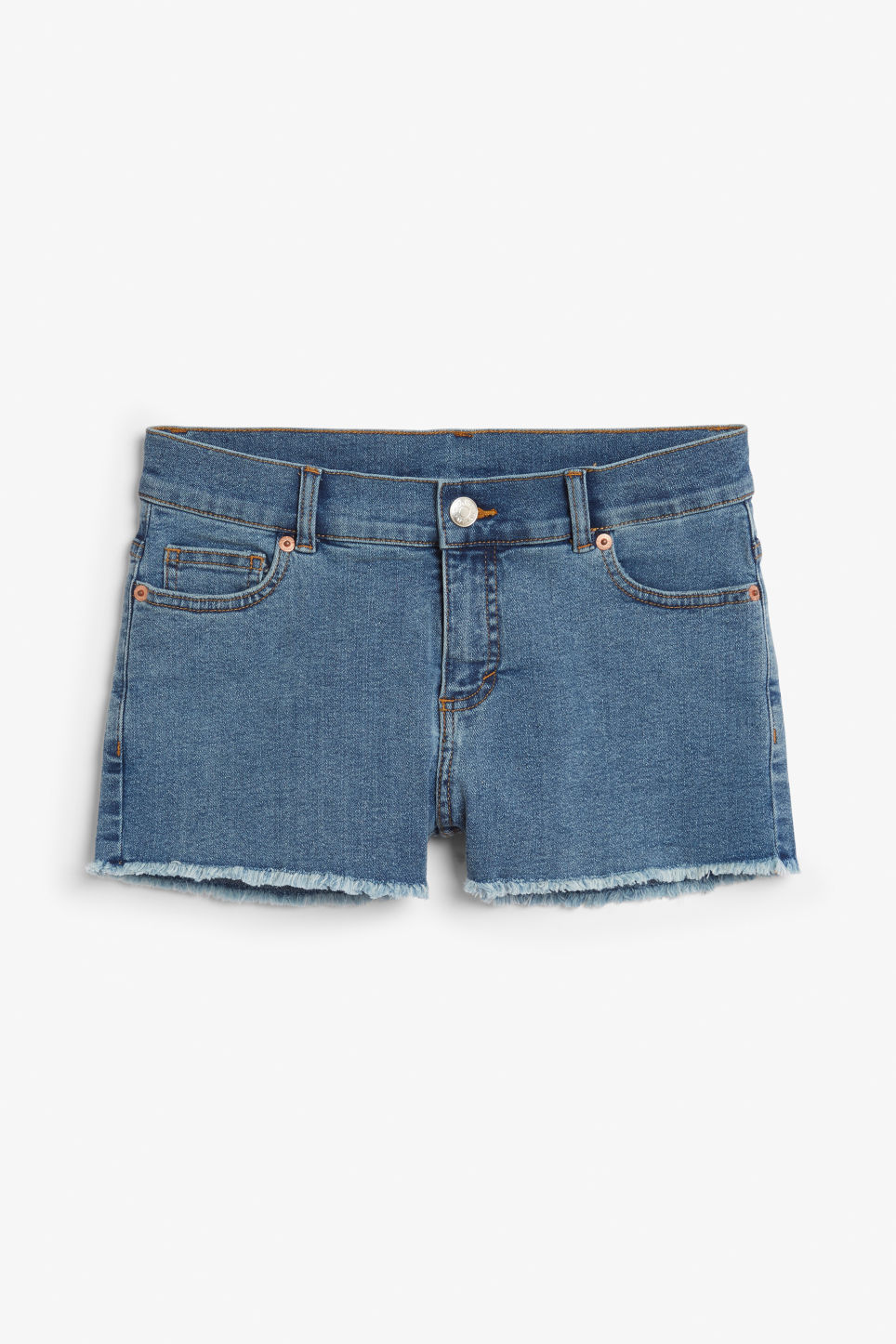 Front image of Monki denim shorts in blue