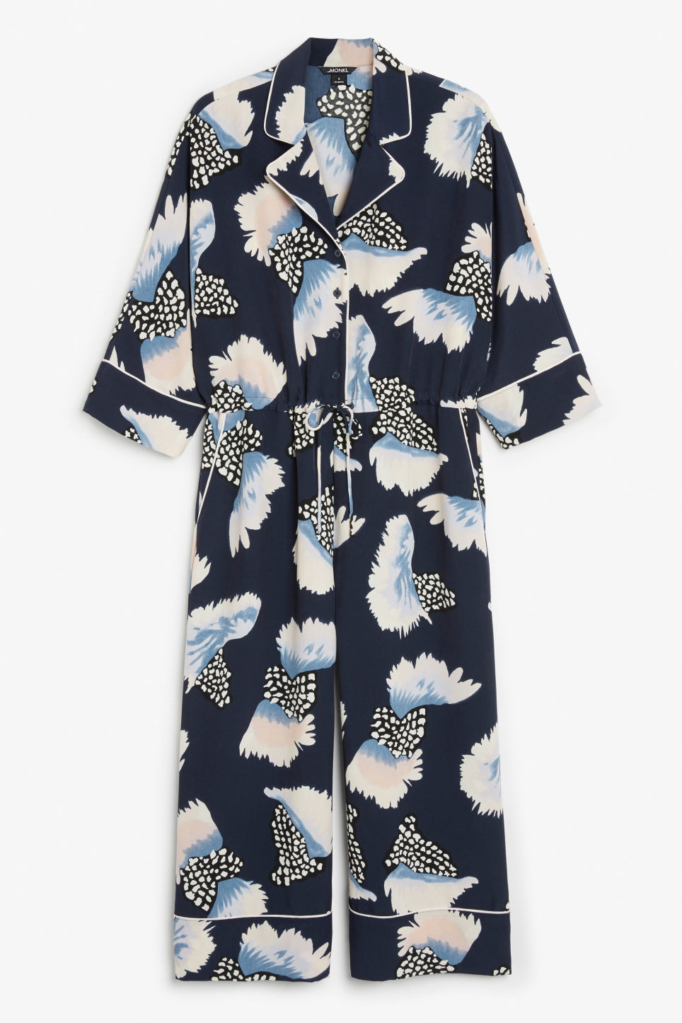 Front image of Monki wide leg jumpsuit in blue